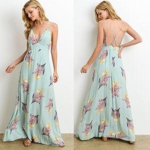 CAMILLE Floral Maxi Dress - MINT